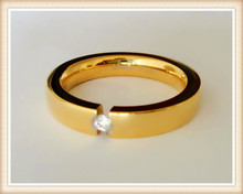 wholesale 3mm thick shiny gold finish comfort fit tension setting women stainless steel wedding ring