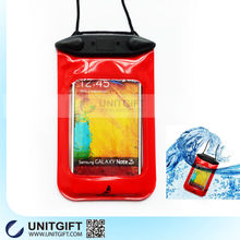 2015 top pvc waterproof mobile pouch with neck strap, armband and eaphone for outdoor sports