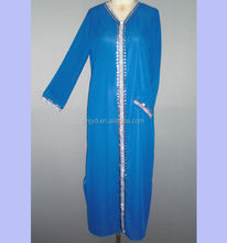 Fashion beautiful embroidery blue abaya jilbab for muslim women MR-1015