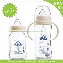 top venda fabricante oem bonito 180ml mamadeiras de vidro garrafa pet de plástico com alça