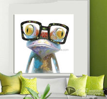 Pure lovely wearing glasses color frog is thinking about the frog best price oil painting in canvas