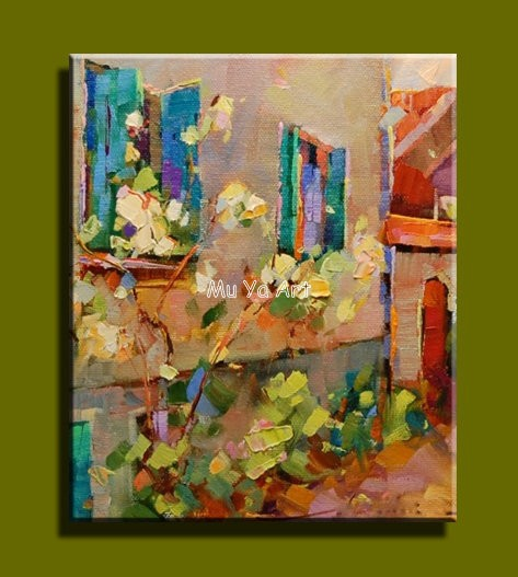Buy Abstract modern canvas wall handmade famous cheap Venice Knife oil painting on canvas for Kitchen room wall bedroom decoration cheap