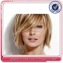 Short layered golden blonde virgin 100% brazilian human hair flip in hair extentions