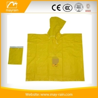 Waterproof Cheap Yellow Plastic PVC bicycle rain poncho for adult