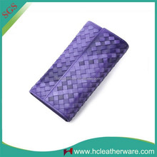 the Foreign Trade Snap Open Quality Golden Zipper Woven Wallet Recycled Leather