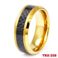 Black carbon fiber 18k gold plated tungsten ring in jewelry