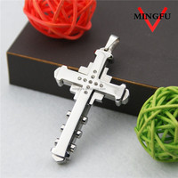 stainless steel cross stitch pendant with stones