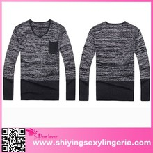 Wholesale hot style korean v neck men's sweater knitting model free