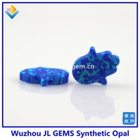(10pcs)8*10mm Free Shipping Synthetic Blue Opal Hamsa In Stock