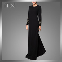 Hand Work Diamoned Stone Beading Dubai Style Islam Simple Design Long Black Maxi Abaya Supplier
