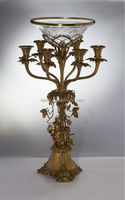 Ornament Candelabra With Crackle Glass Bowl, Centerpiece Bronze Candle Holder With Cherub Base