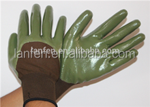13G Polyester Shell Nitrile Foam 3/4 Coated gloves,invisible green coating