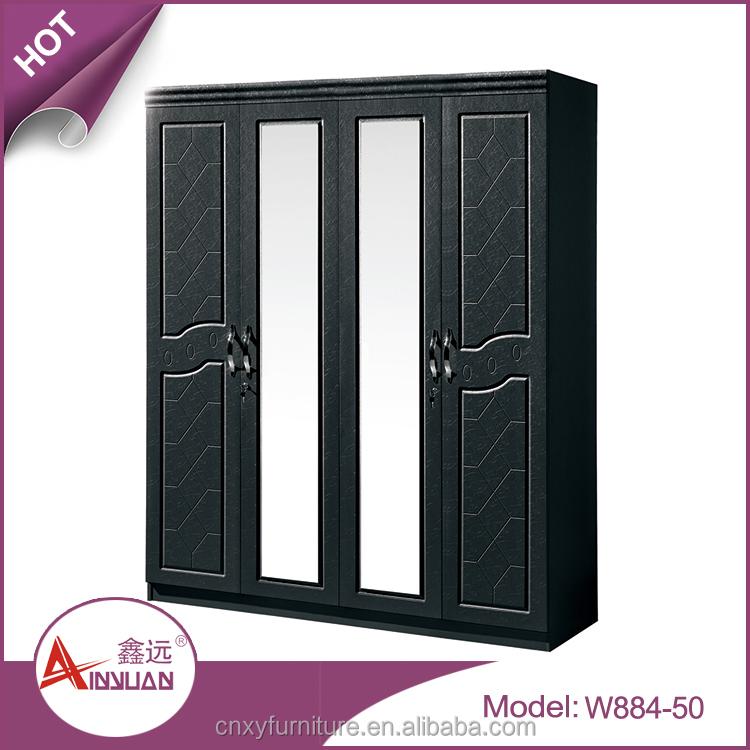Custom modern bedroom almirah design black 4 doors mdf wooden clothes closet organizers with - Modern almirah designs ...