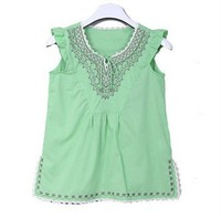 < Thanksgiving Promotion > 2016 Ethnic Sleeveless Blouses Patterns Ladies Embroidered Blouses Cutwork Blouse