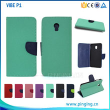 New arrival Mixed colors pu leather flip cover case for lenovo VIBE P1