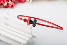 Kids Cute cellulose acetate plastic rhinestone headbands two flowers headbands for teen girls