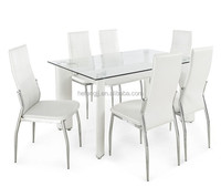 4 Seater Glass Dining Table designs with MDF legs with 4 Leather Chair