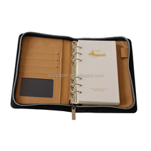 A6 refillable leather notebook with front pocket