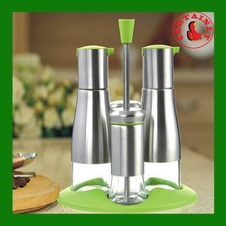 Elegance Four Piece Sets Oil Vinegar Cruet Sets Salt Pepper Stand