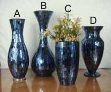 2014 Wholesale Vase Sets Elegant Purple Mosaic Glass Vases/mosaic candle holder