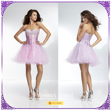 Puffy ball gown beaded crystal strapless low back short cocktail dress for prom night CD60