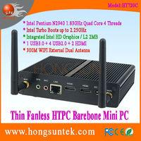HT720C Intel Pentium N2940 1.83GHz Quad Core 4 Threads Fanless Barebone Mini Computer