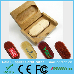 Customized logo 8GB wooden usb flash drives gift with logo wooden box 100% real capacity factory price and warranty