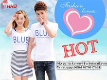Comfortable high quality plain cotton t-shirt Fashion Women's Men's couple t-shirts casual short sleeve T-shirt