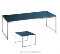 stainless steel table with glass top tea table for living room lounge table