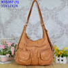 Angelkiss bag hobo bag with two pockets and three zipper in front view/lether hangbag