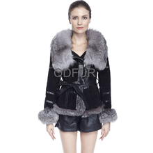 QD70836 China Supplier Women Winter Short Pig Skin Clothes with Fox Fur Collar Alibaba China