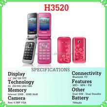 "2.4"" screen dual sim FM radio color flip bar 3520 cheap price quadband cellphone"