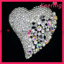 fashion heart shape brooch with clear and AB color rhinestone for wedding WBR-855