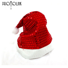 alibaba wholesale cheap christmas paillette santa claus red hat for children and kids