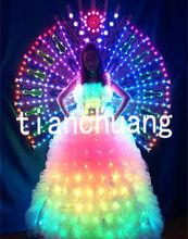 Light Up Dancing Dress / Strapless White Long Fuller Skirt / LED Dance Props with Isis Wings
