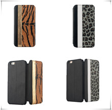 New design direct open flip design lepoard leather for iphone 6 case for other mobile phone