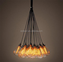 2015 High Quality pendant lamp iron material/glass lampshade/ with 10 heads