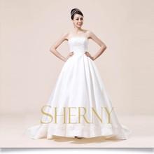 New arrival simple design backless off shoulder wedding dress