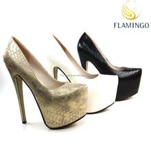 FLAMINGO 2015 LATEST ODM OEM 17cm platform super high heel pump shoes sexy women shoes