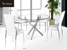 China modern ikea dining room furniture round top glass dining table YC-13