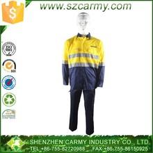 100% cotton hi-vis yellow two tone safety work uniform
