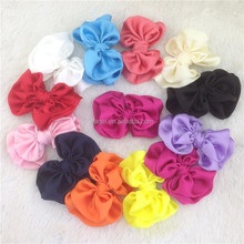New arrival 3.5inch solid satin double hairbow WITH CLIP for accessory satin hair bows for kids hair ornament
