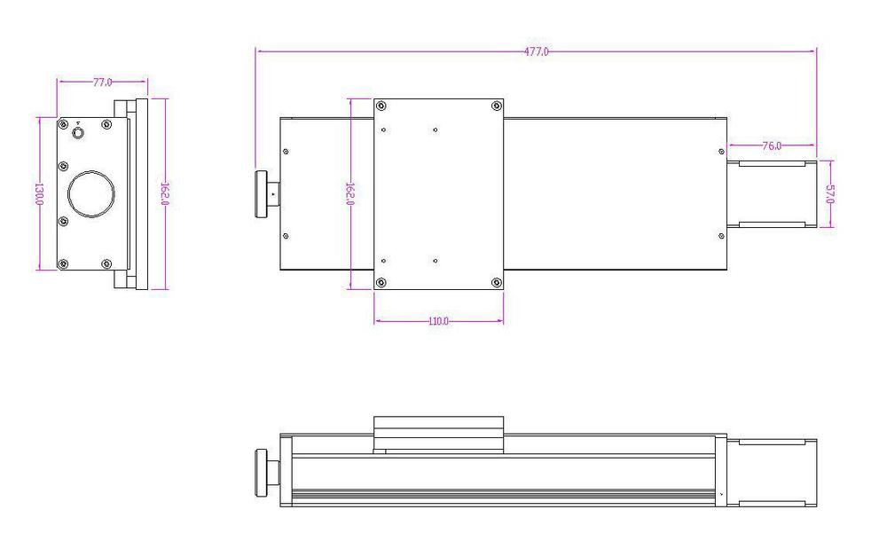 High-precisely Ball Screw Shaft, 250mm Stroke Linear Slider Rail Guide for CNC Machine