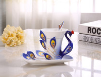 Collectable Fine Arts China Porcelain Tea Cup and Saucer Coffee Cup Peacock Theme Romantic Creative Present-Blue