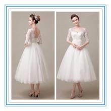 Gorgeous V-Nekline half sleeve Tulle Lace Applique Tea Length Dress wedding Beach wedding dress 2015(YASA-2002)