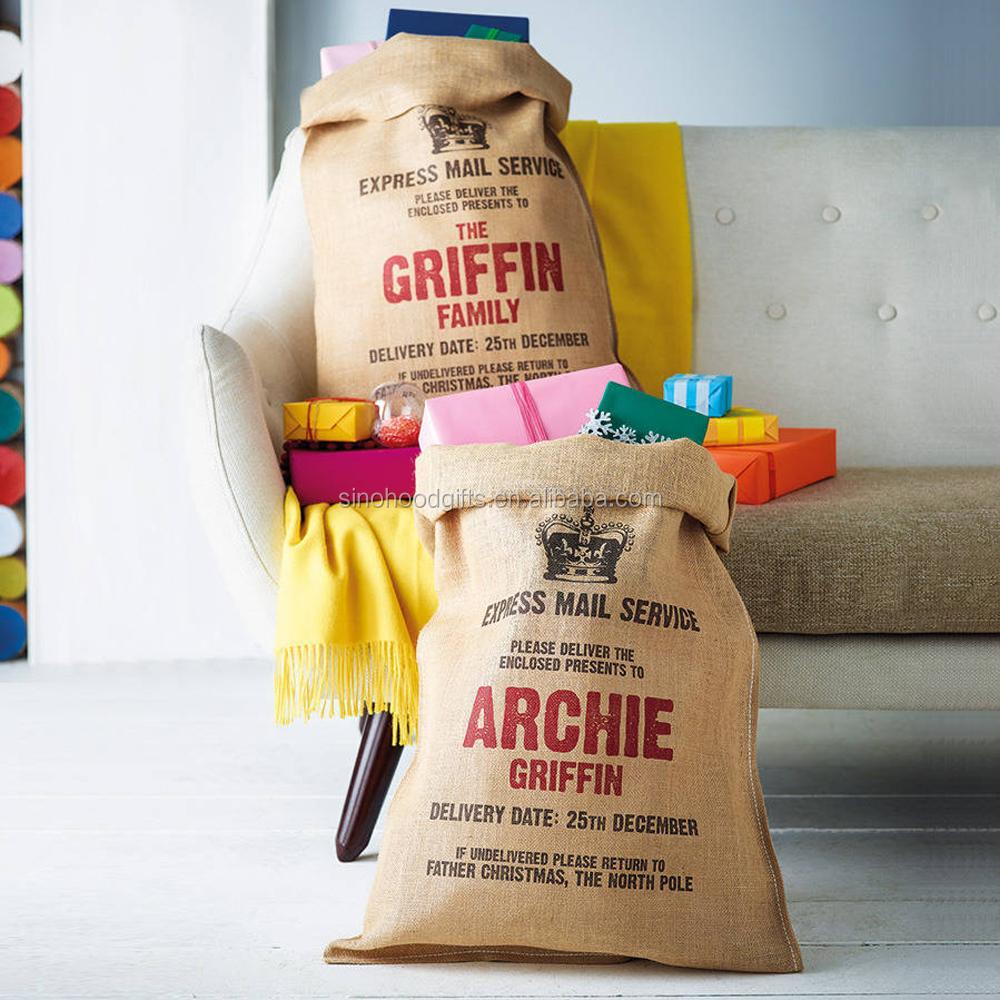 Usine directement vendre jute de no l sac de santa p re no l cadeau sac sacs - Cadeau noel a vendre ...