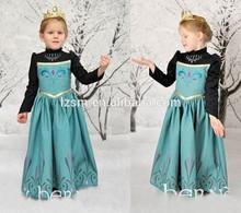 Caliente bola elsa congelados de otoño de la princesa girls' los niños vestido largo