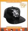 Embroiderd Faux Leather Snapback Cap,Flat Bill PU Snapback Caps