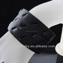Pelle moda bracciale largo nero cinturino bracciale per gli uomini bgl-054
