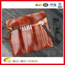 PU leather vintage rollup style multi purpose soft pencil holder, pen holder pocket